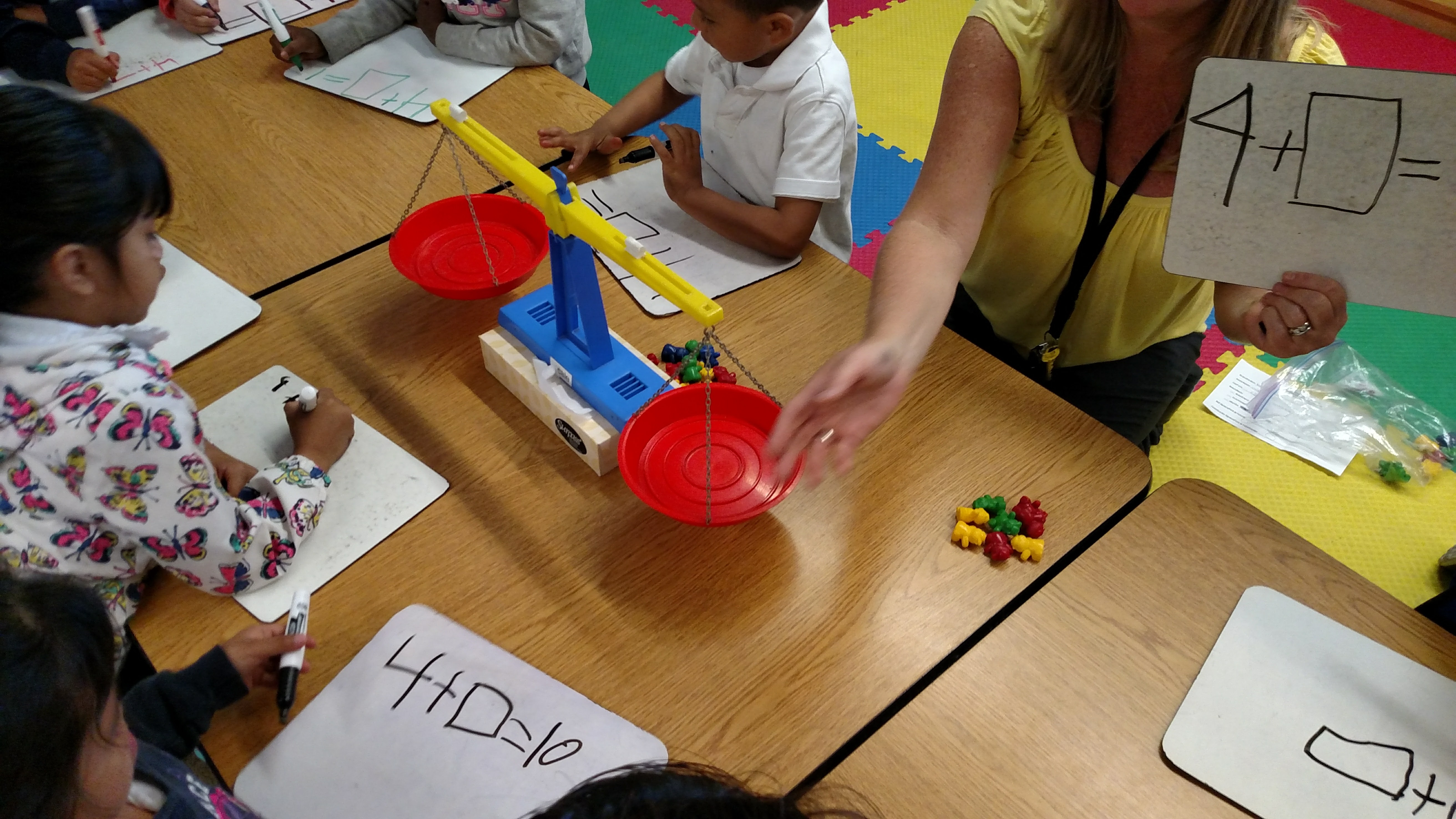 Using a balance scale to solve balance equations.